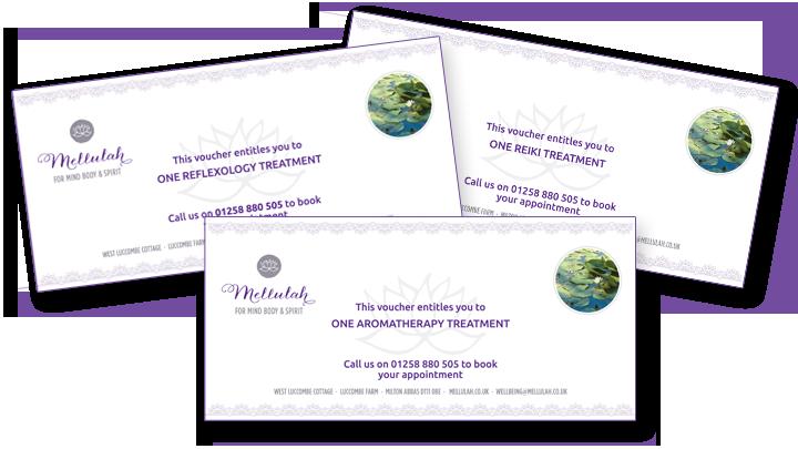 Mellulah reiki aromatherapy reflexology gift vouchers