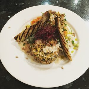 Cauliflower & Quinoa Patties with Sweet Potato Mash with Silken Tofu, Grilled Aubergine and Amaranth