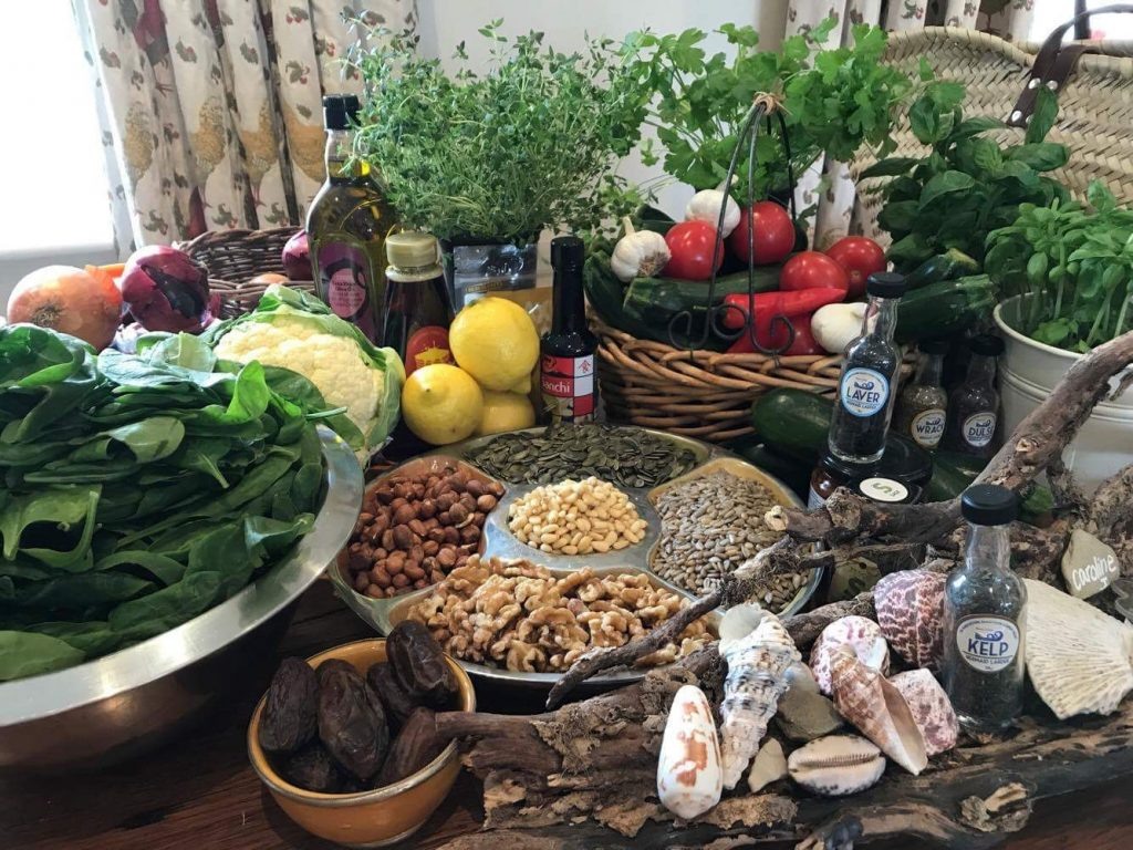 Food preparation in the Mellulah Yoga Kitchen